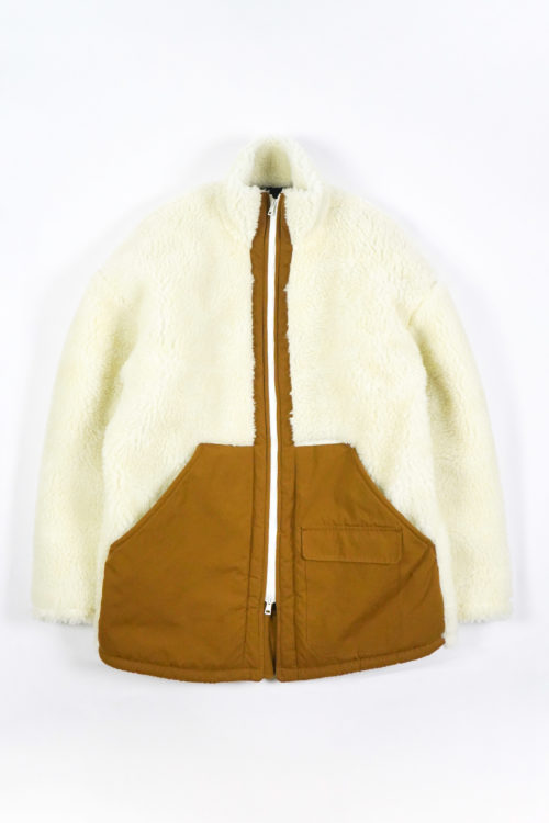 BLOUSON FULL FAUX FUR - WHITE BROWN