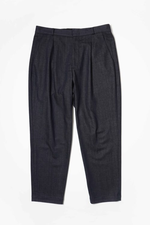 DENIM ONE TUCK SLACKS