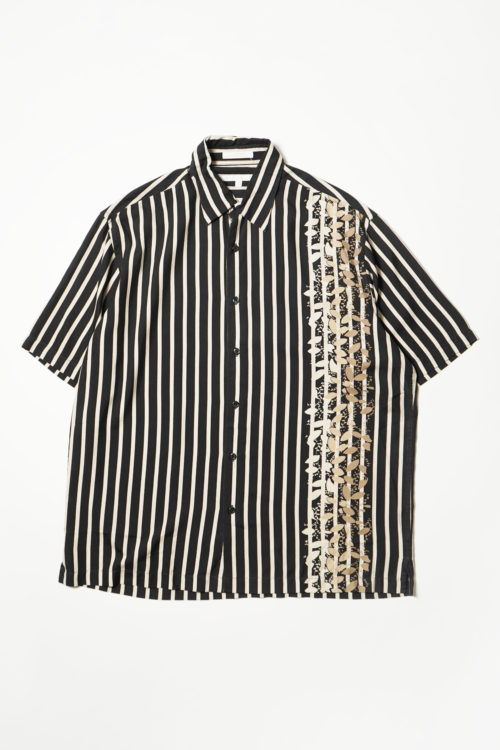 PRINTED STRIPE S/S SILK SHIRT