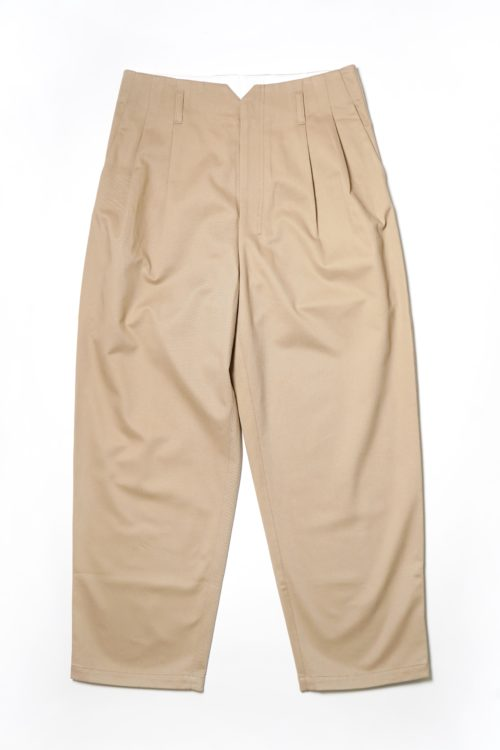 2 TUCK COTTON SLACKS - BEIGE