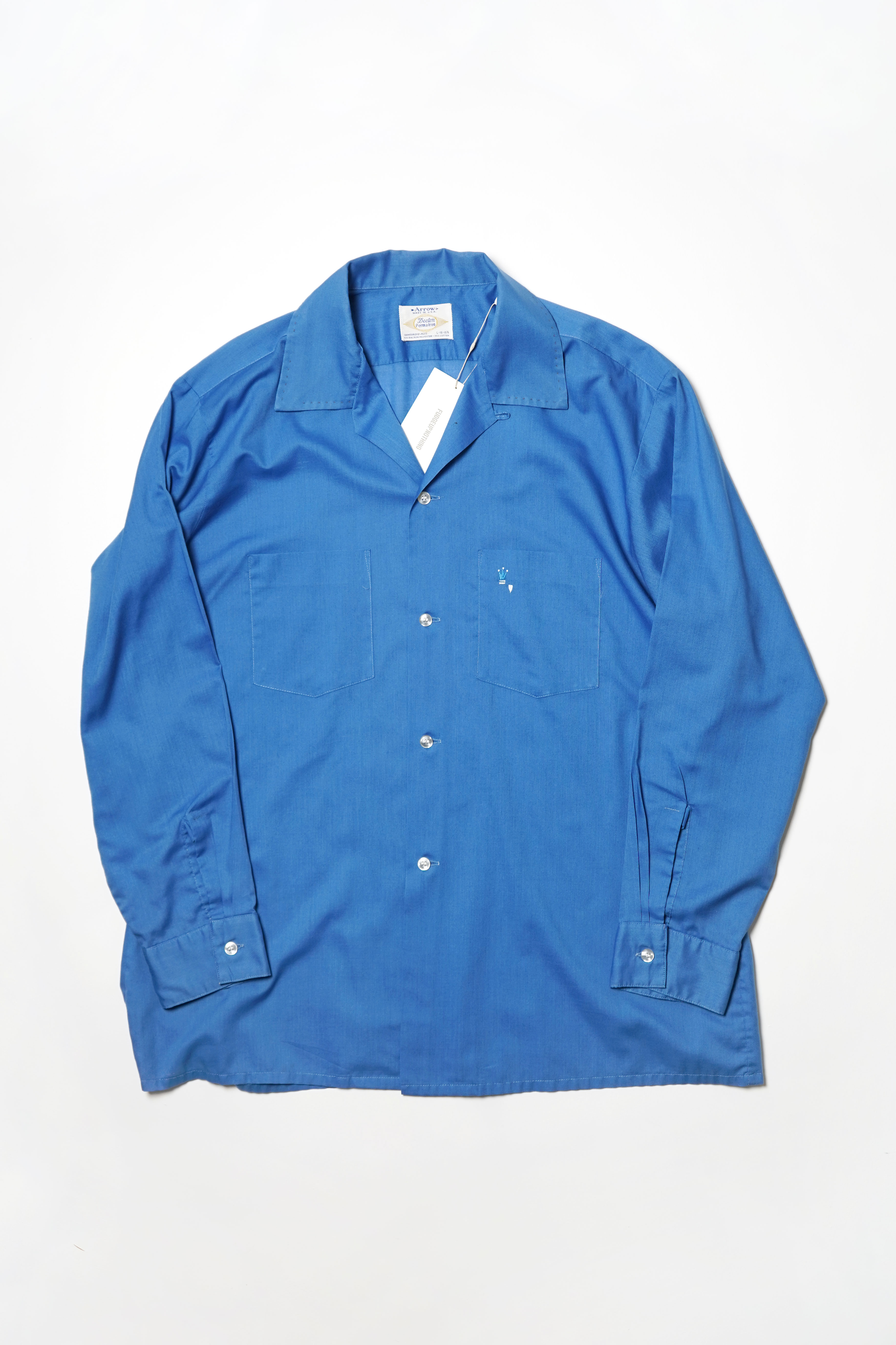 POLYESTER OPEN COLLAR SHIRT BLUE
