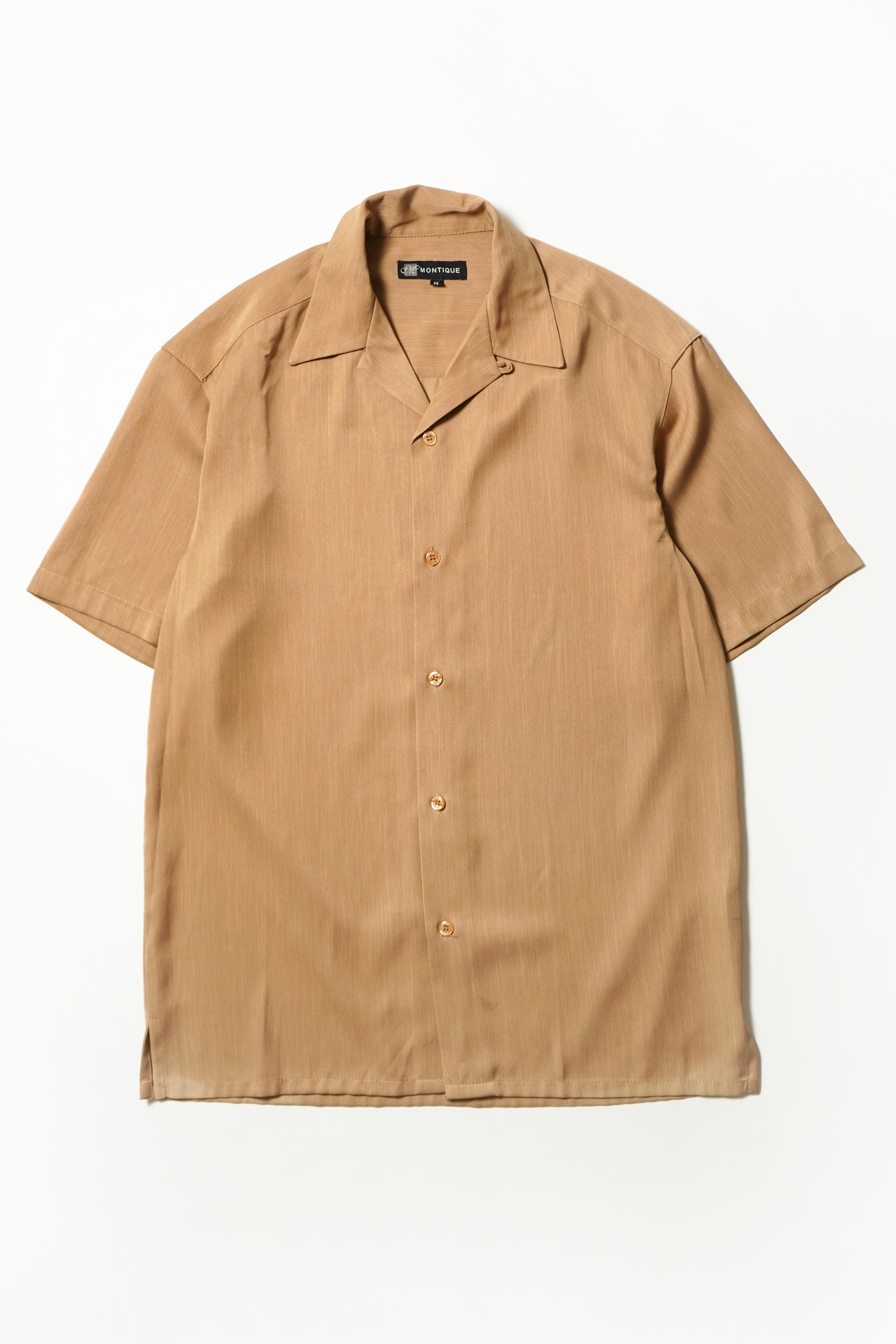 OPEN COLLAR S/S SHIRT BEIGE