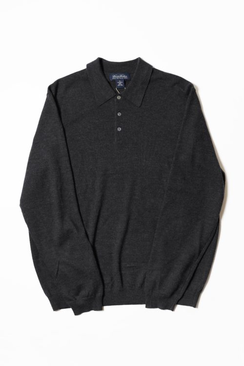 KNIT POLO CHARCOAL GRAY