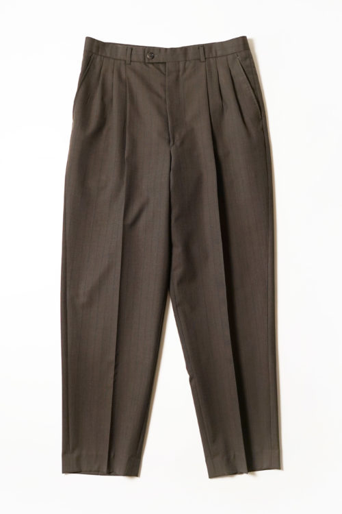 REMAKE SLACKS PANTS PURE WOOL DARK BROWN