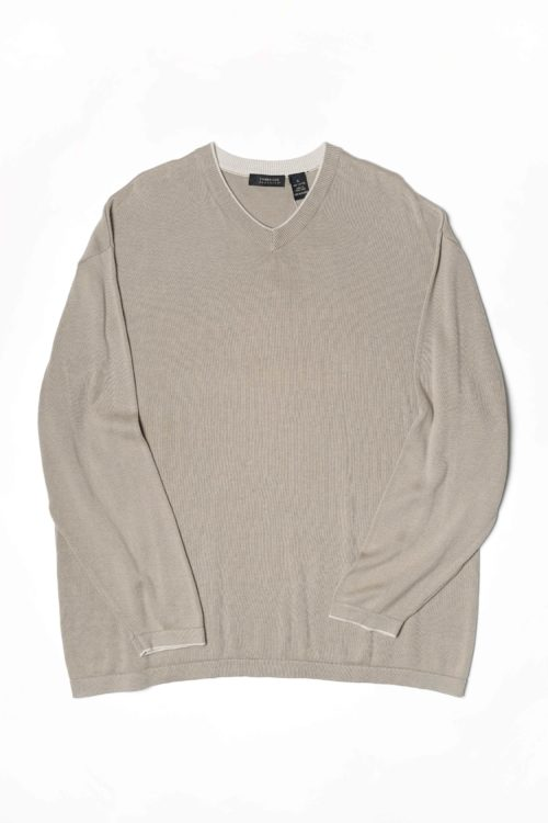 SAND COLOR V NECK SWEATER