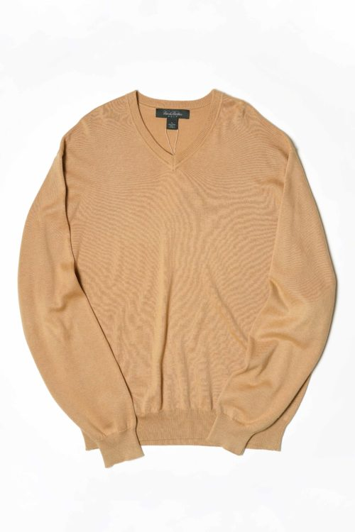 BEIGE COLOR V NECK SWEATER