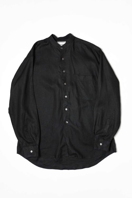 LINEN FABRIC STAND COLLAR SHIRTS BLACK