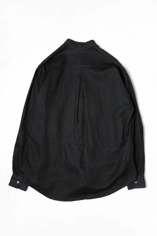 LINEN FABRIC STAND COLLAR SHIRTS BLACK