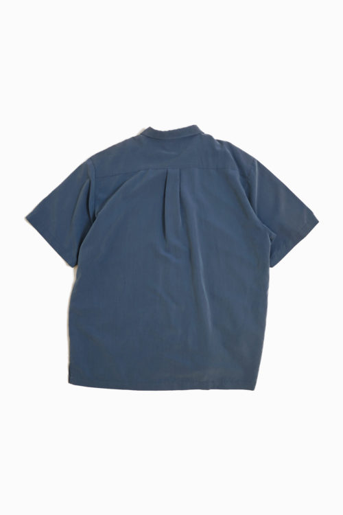 SMOKE BLUE OPEN COLLAR SHIRT