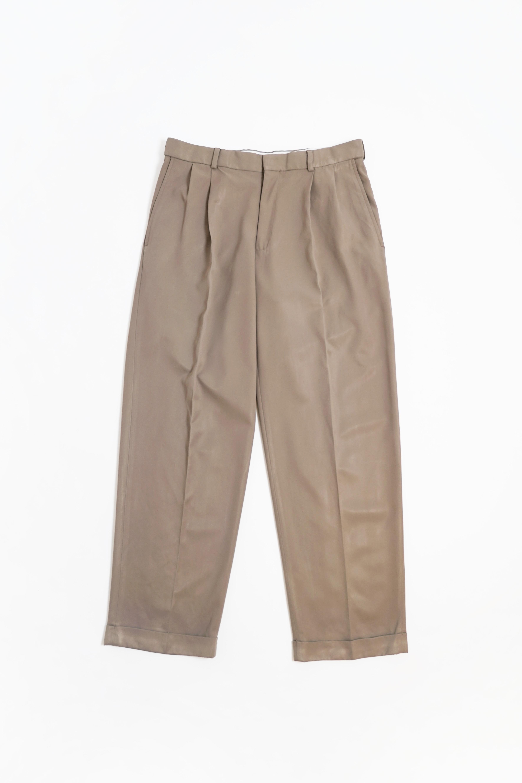 POLYESTER 2TUCK SLACKS PANTS BROWN