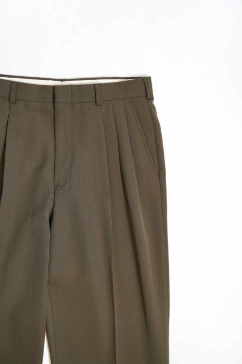 SUMMER WOOL 3TUCK SLACKS PANTS OLIVE COLOR