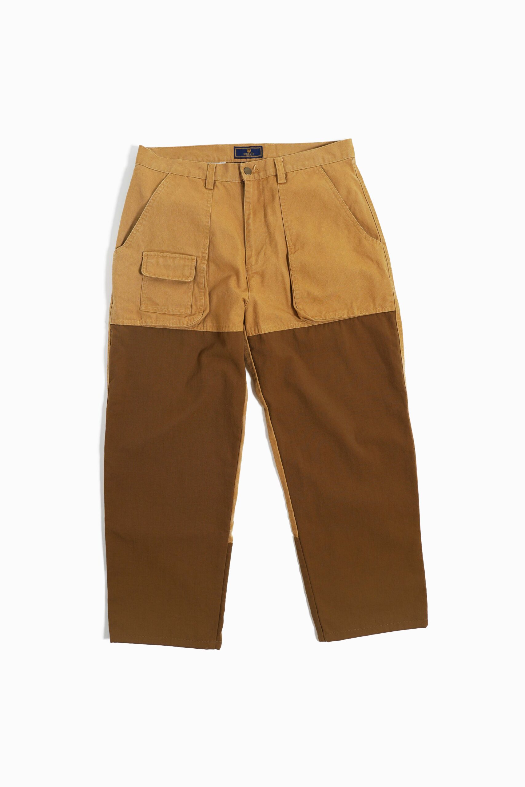 BROWN 2TONE COLOR UTILITY DENIM PANTS