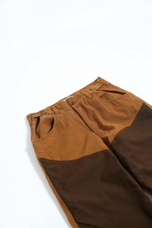BROWN 2TONE COLOR TRIM NYLON PANTS