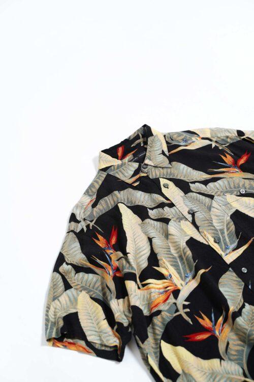 FLOWER DESIGN RAYON S/S SHIRTS BLACK