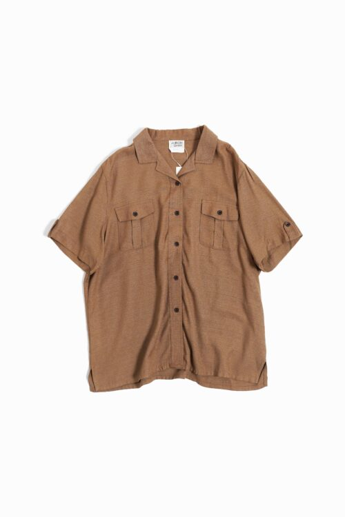 RAYON OPEN COLLAR MILITARY S/S SHIRTS BROWN