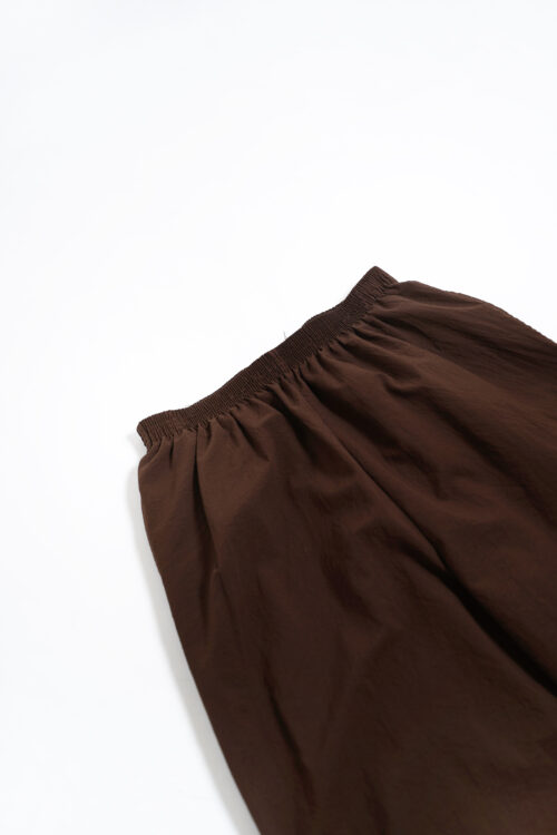 POLYESTER EASY SLACKS PANTS BROWN